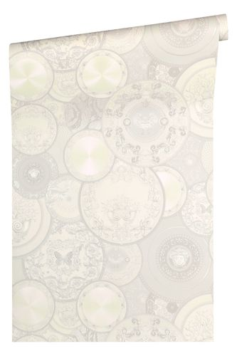 Versace Home Wallpaper dish cream white gloss 34901-4