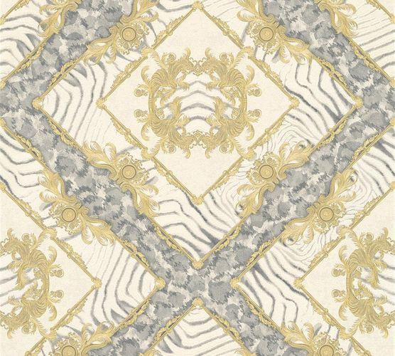 Versace Home Tapete Ornament Zebra beigegold Glanz 34904-2