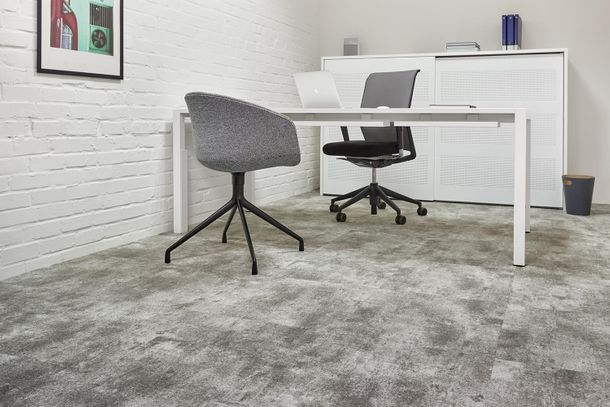 Gewerbe Teppichfliesen Beton-Optik Teppich grau 50x50cm online kaufen