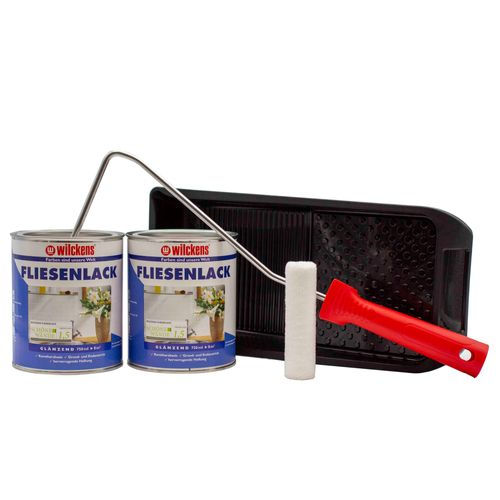 Set of 2 Buckets Wilckens Tiles Varnish White Paint Roller | 16m²