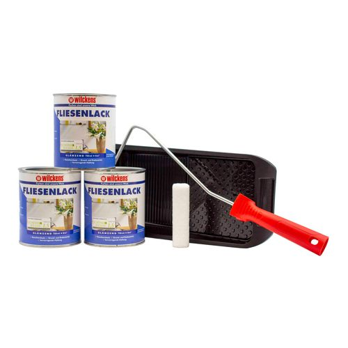 Set of 3 Buckets Wilckens Tiles Varnish White Paint Roller | 24m²