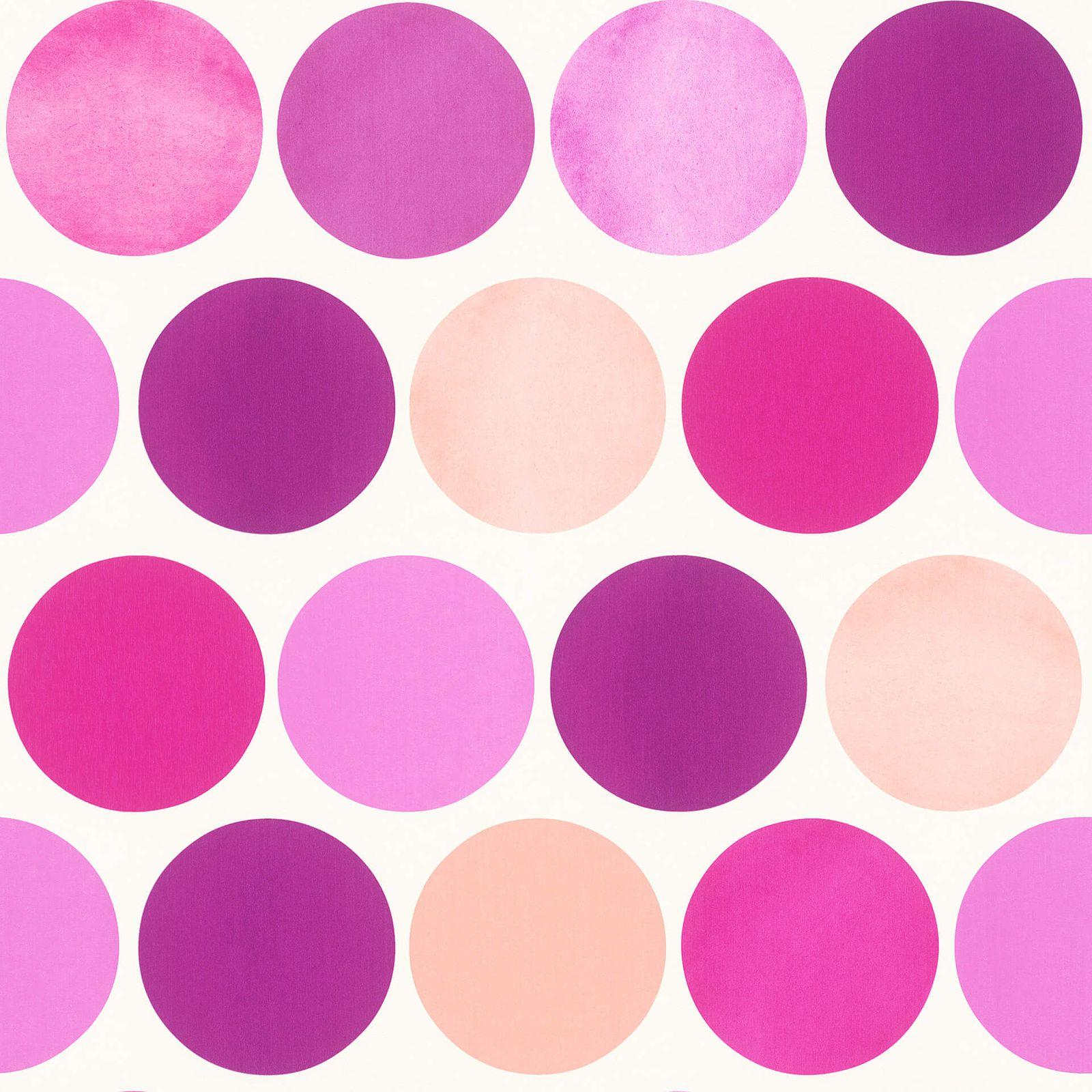 Tapete rasch textil m dchen kreise retro violett 138859 for Tapete violett