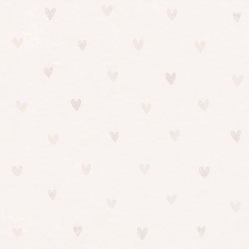 Vliestapete Kinder Herzen weiß silber 138864