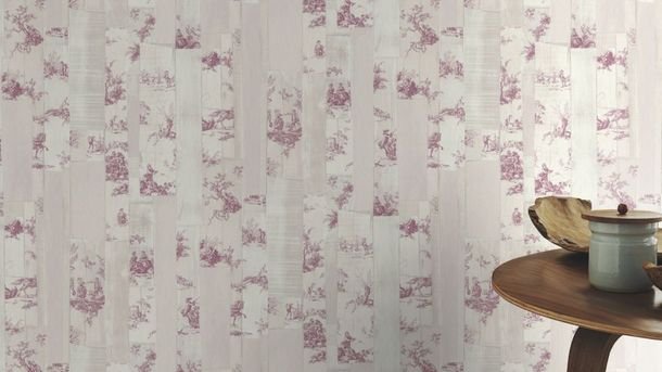 wallpaper toile de jouy cream beige pink rasch 516326. Black Bedroom Furniture Sets. Home Design Ideas