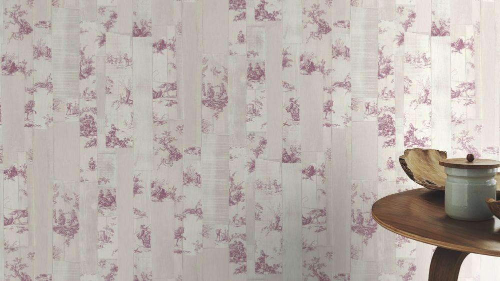 Wallpaper Toile De Jouy Cream Beige Pink 516326 Rasch