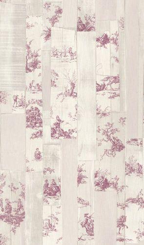 Tapete Vlies Toile de Jouy cremebeige pink Rasch 516326
