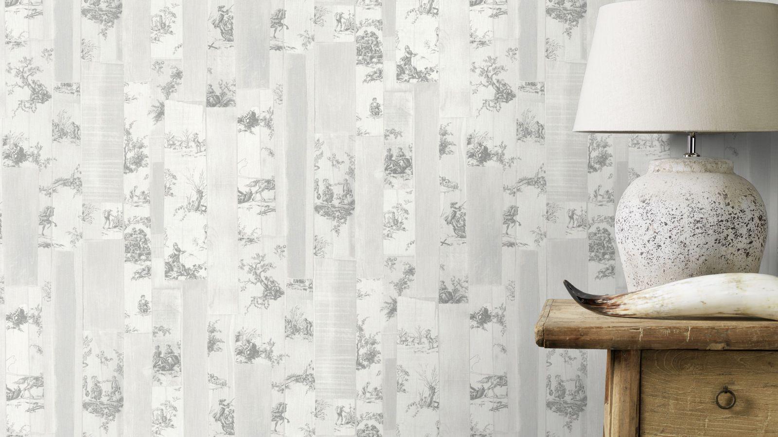 tapete vlies toile de jouy beigegrau grau rasch souvenir. Black Bedroom Furniture Sets. Home Design Ideas
