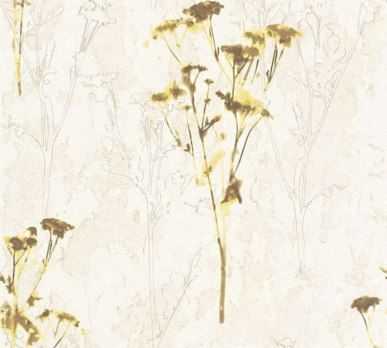 Tapete Vlies Aquarell Blumen creme grün AS Creation 34398-1 online kaufen