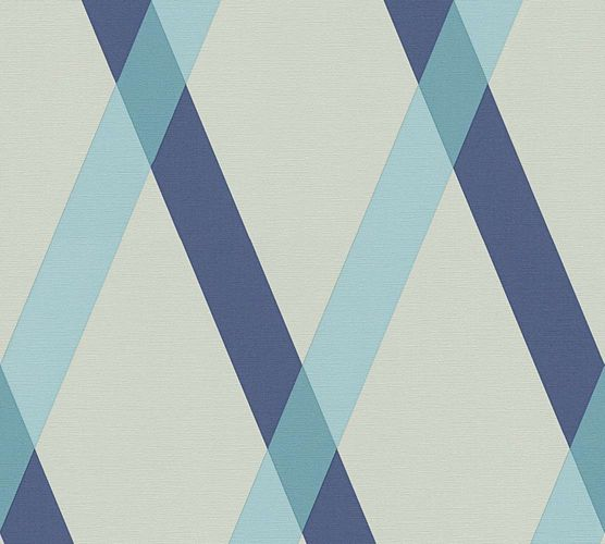 Lars Contzen Wallpaper checked striped grey blue 34110-4