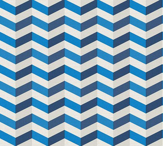 Tapete Vlies Lars Contzen 3D Zickzack blau weiß 34123-1