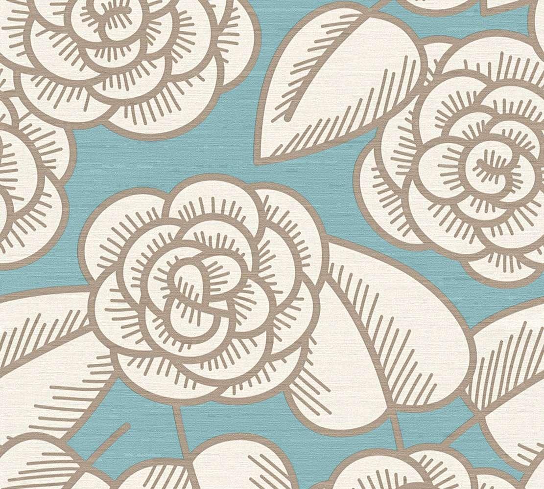 tapete vlies lars contzen blumen blau wei 34213 1. Black Bedroom Furniture Sets. Home Design Ideas