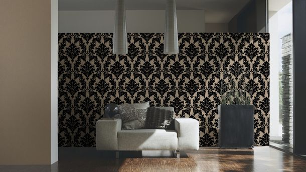 Flock Tapete Barock Floral taupe Architects Paper 33580-4