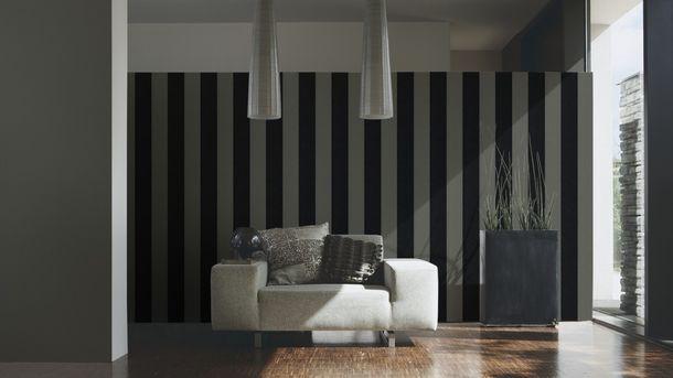 Flock Tapete Streifen grau schwarz Architects Paper 33581-5