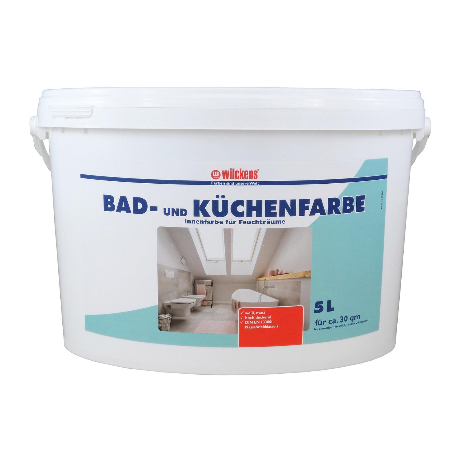 Wilckens Badfarbe Küchenfarbe Feuchtraumfarbe Weiß Matt 5L