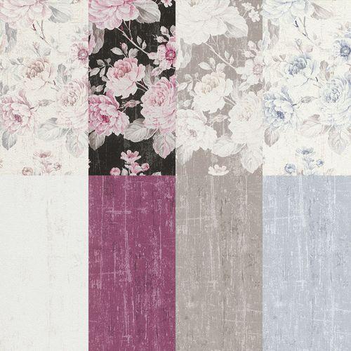 Vlies Tapeten Blumen Vintage Stil Uni Used Design Rasch