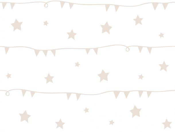Kinder Tapete Sterne Girlande weiß beige U3026-3
