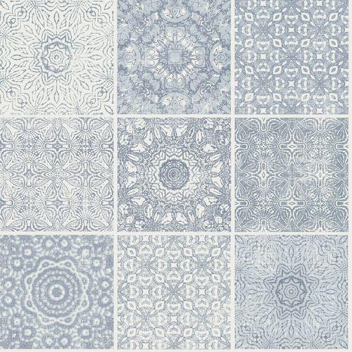 Tapete Vlies Rasch Textil Kacheln Maori blaugrau weiß 021033 online kaufen