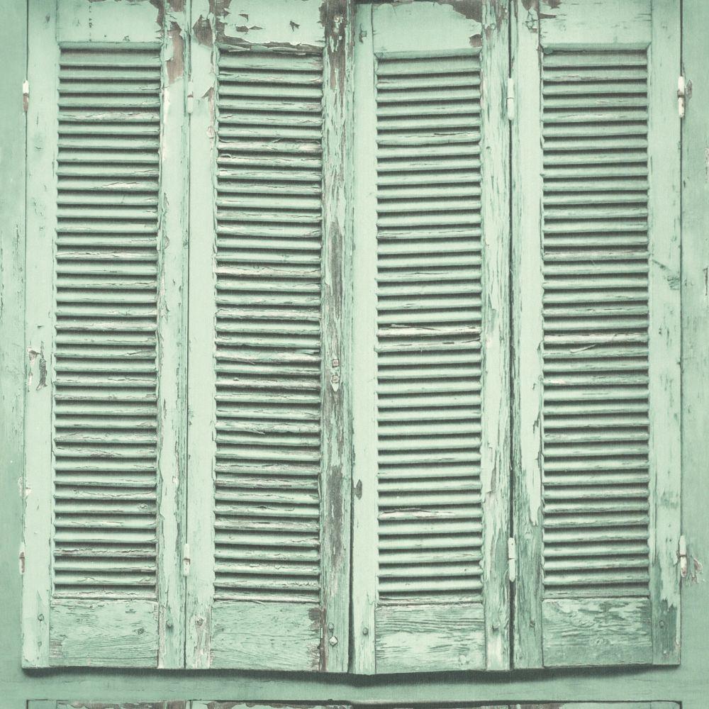 Vliestapete Shabby Chic Fensterläden Grün Grau 138883