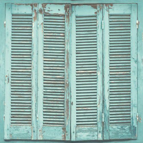 Vliestapete Shabby Chich Fensterläde türkis 138884 online kaufen