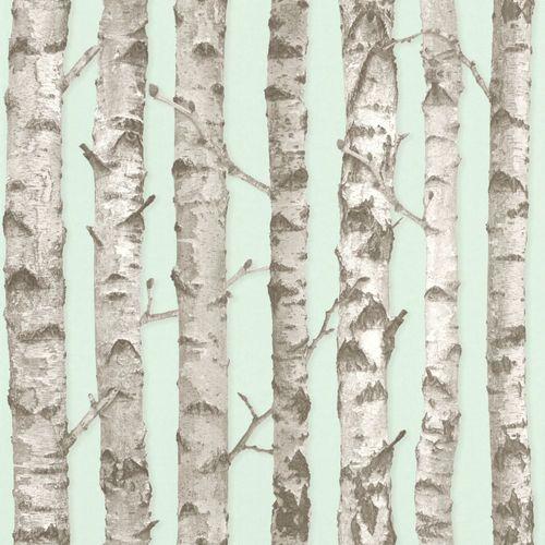 Vliestapete Bäume Baumstamm mint grau 138890