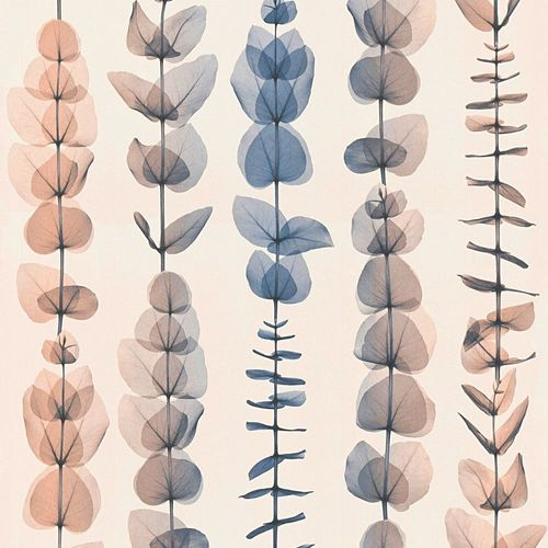 Wallpaper leaf tendril cream blue AS Creation 34246-5