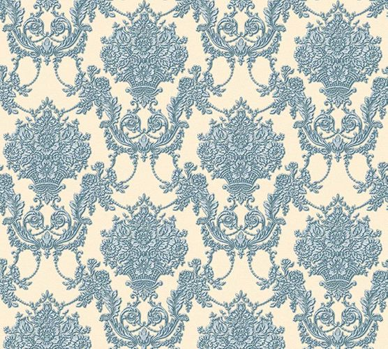 Tapete Vlies Ornament beige blau Glanz AS Creation 34492-6