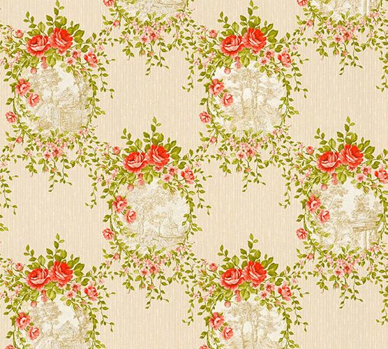 Wallpaper cottage style cream green gloss AS Creation 34499-1