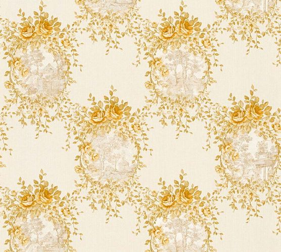 Wallpaper cottage style white gold gloss AS Creation 34499-3
