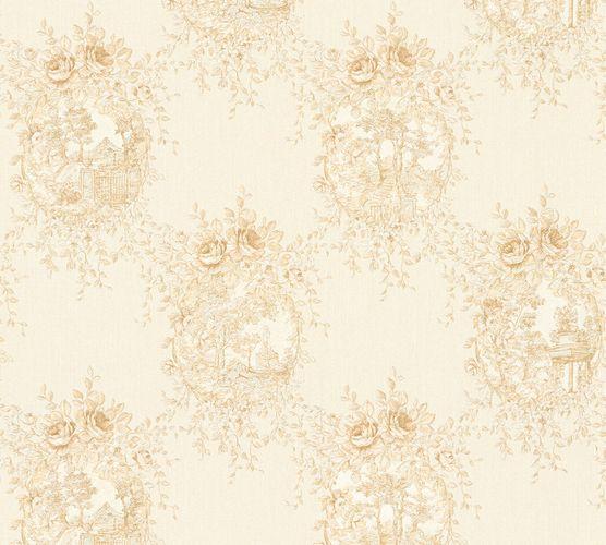 Tapete Vlies Landhaus weiß silberbeige Glanz AS Creation 34499-4 online kaufen