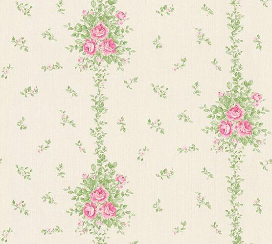 Wallpaper roses white green gloss AS Creation 34500-2