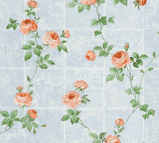 Tapete Vlies Blumen Fliesen blau grün Glanz AS Creation 34501-1 online kaufen