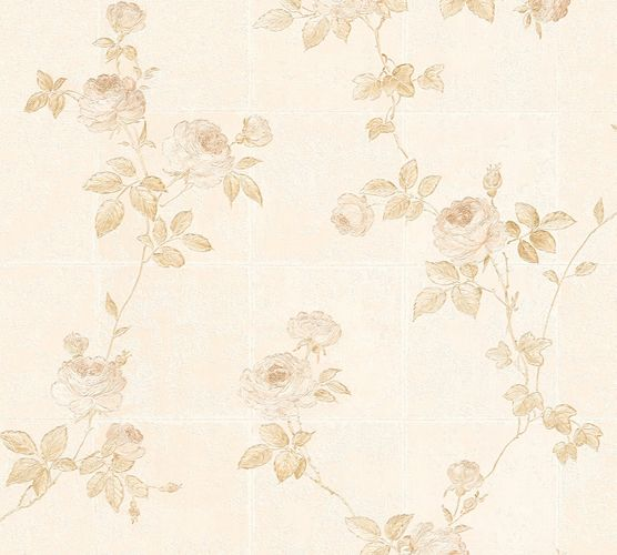 Tapete Vlies Blumen Fliesen weiß creme Glanz AS Creation 34501-2 online kaufen