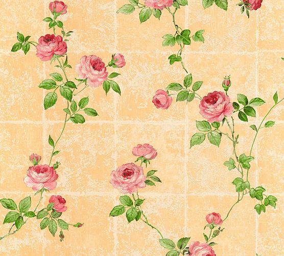Tapete Vlies Blumen Fliesen orange grün Glanz AS Creation 34501-6 online kaufen