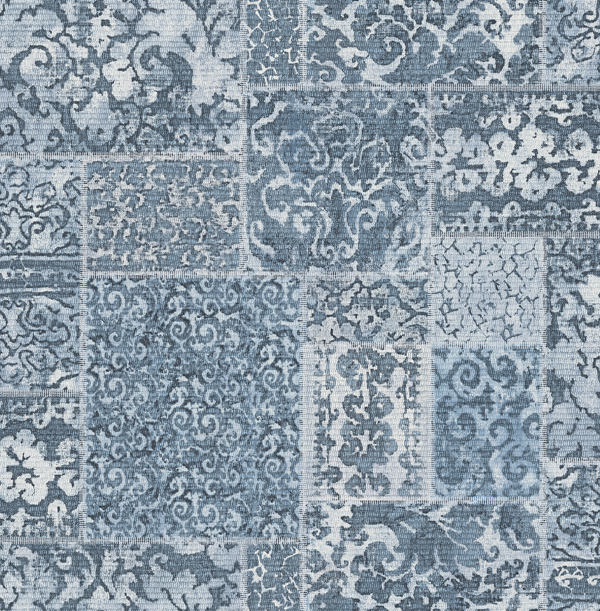 Tapete vlies rasch textil ornament kacheln blau wei 024059 for Tapete ornament blau