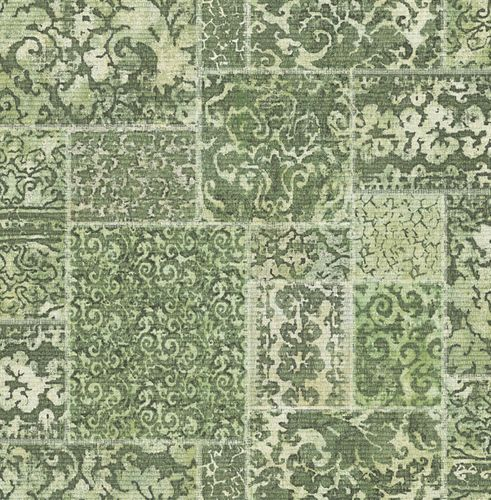 Wallpaper ornaments tiles green white 024061 online kaufen
