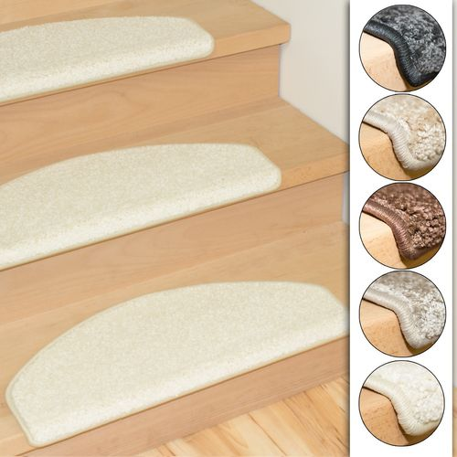 Set of 15 stair mats shaggy 5 colors  online kaufen