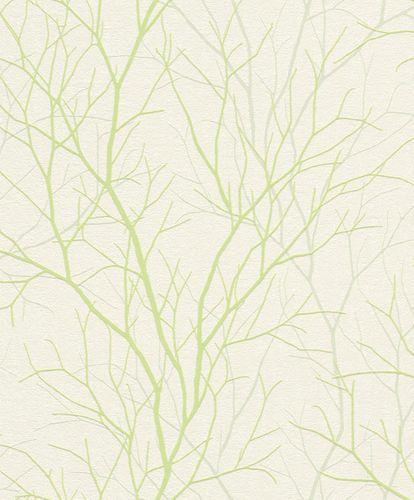 Tapete Vlies Rasch Äste Natur grauweiß grün Rasch 881844