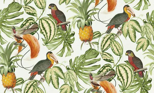 Wallpaper Erismann Paradisio tropical birds white green 6302-07