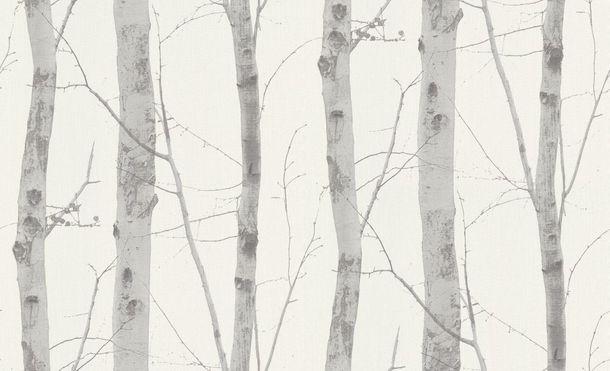 Wallpaper Erismann Paradisio Nature branch motif white grey gloss 6305-10