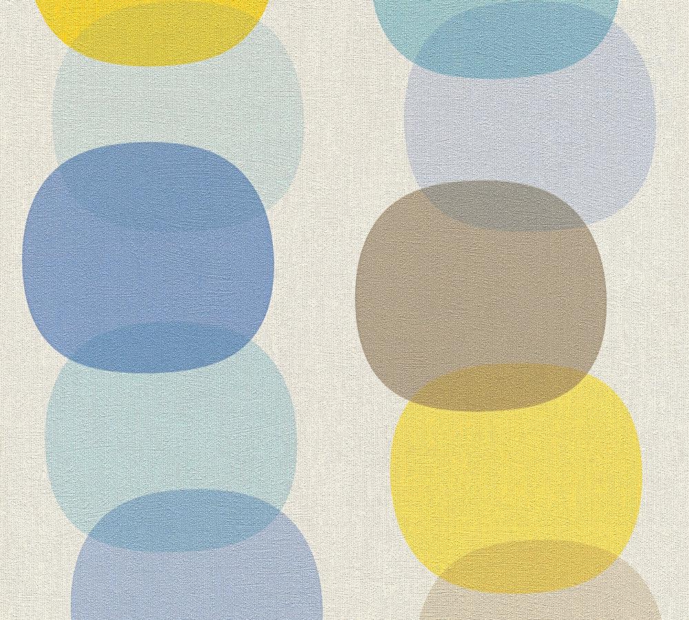 tapete vlies kreise retro wei grau blau as creation 35590 1. Black Bedroom Furniture Sets. Home Design Ideas