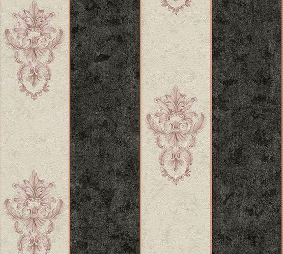 Non-woven wallpaper baroque striped white anthracite AP 34371-2