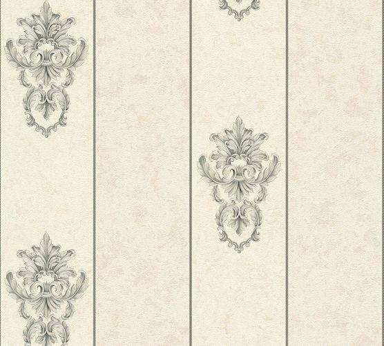 Non-woven wallpaper baroque striped white grey AP 34371-4