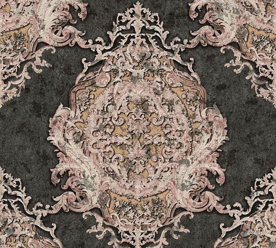 Non-woven wallpaper baroque striped anthracite rose AP 34372-2 online kaufen