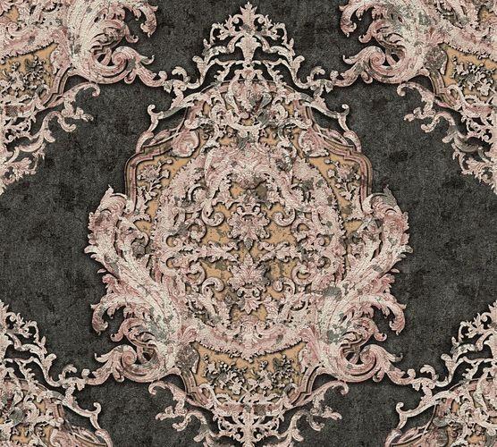 Non-woven wallpaper baroque striped anthracite rose AP 34372-2
