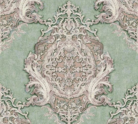 Non-woven wallpaper baroque striped green purple AP 34372-5
