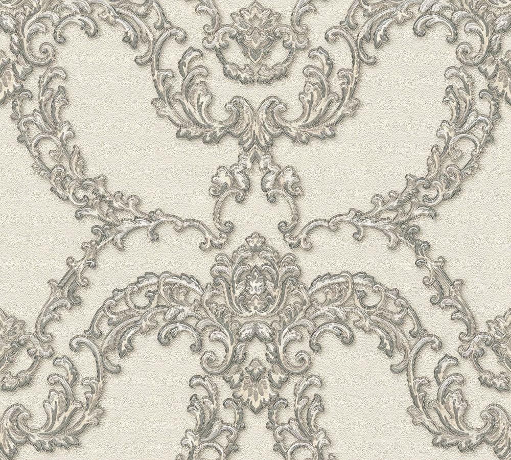 vlies tapete ornamente floral creme silber ap luxury. Black Bedroom Furniture Sets. Home Design Ideas