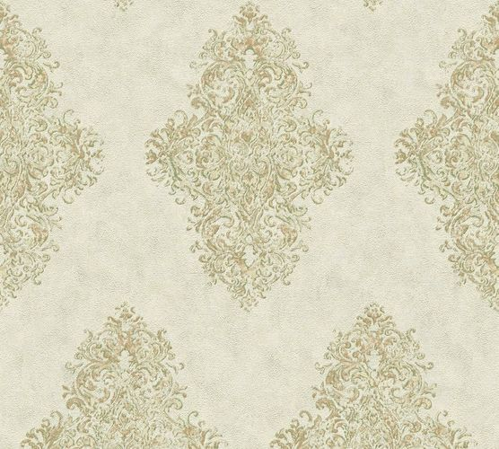 Tapete Vlies Ornamente Klassisch graugrün grüngold AP 35110-2