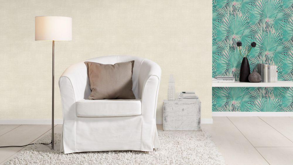 tapete vlies palmenblatt tropisch dunkelblau rasch 803327. Black Bedroom Furniture Sets. Home Design Ideas