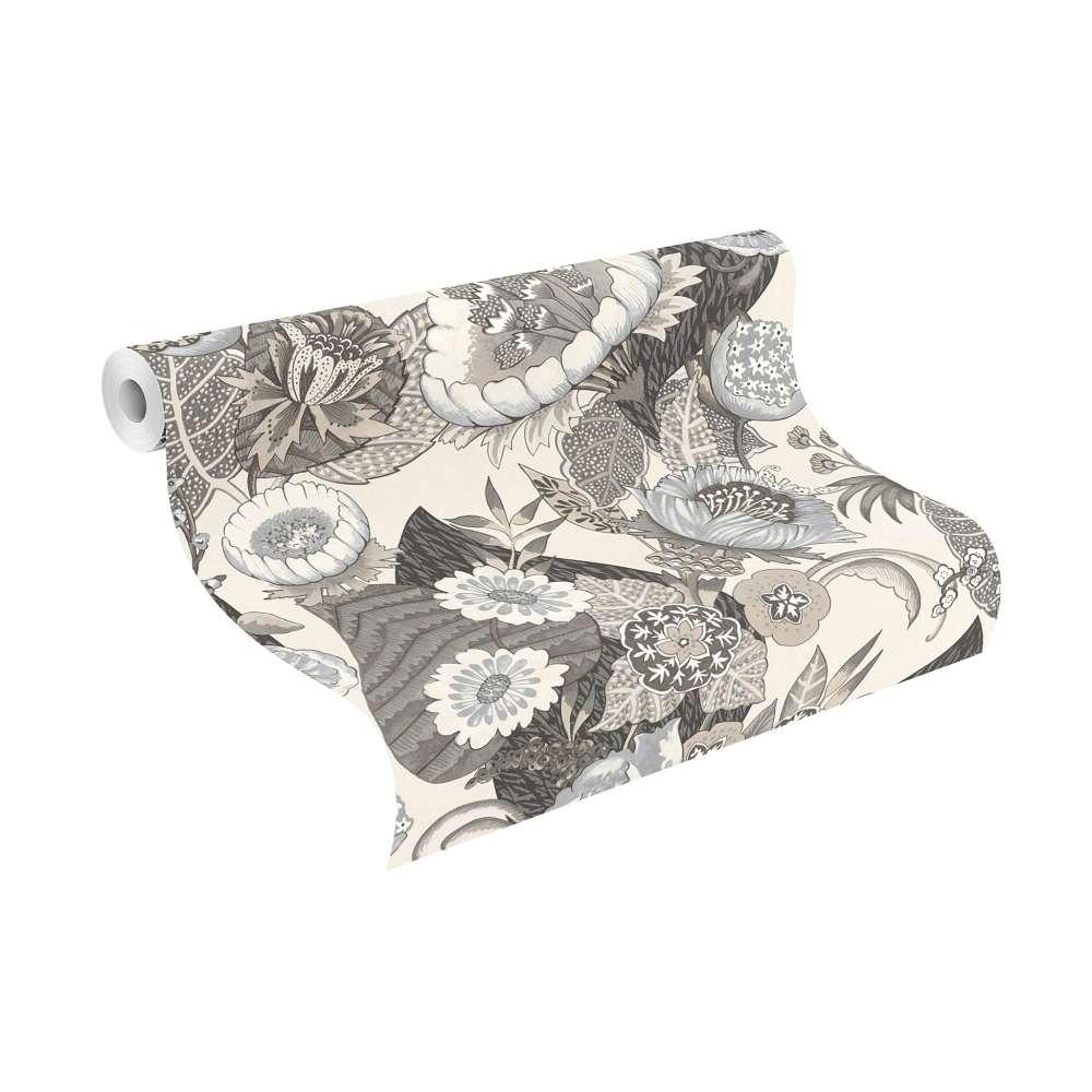tapete vlies pop art blumen hellgrau beige rasch 803617. Black Bedroom Furniture Sets. Home Design Ideas