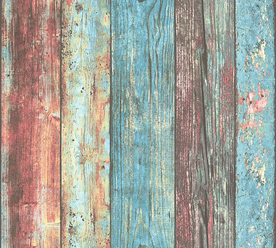 Wallpaper wood design used colourful turquoise AS Creation 30723-1